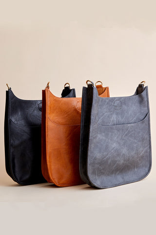 Vegan Messenger Bag (available in Black, Navy, Camel & Grey)- STRAP NOT INCLUDED