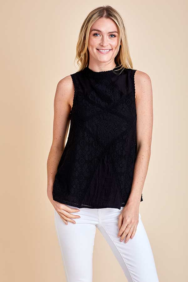 Madison Sleeveless Lace Detail Top