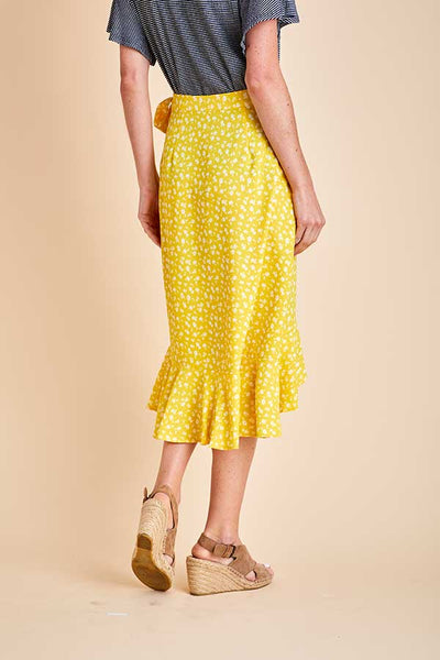 Blu Pepper Yellow Floral Print Wrap Skirt