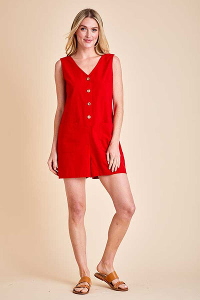 RD Style Woven Button Front Romper