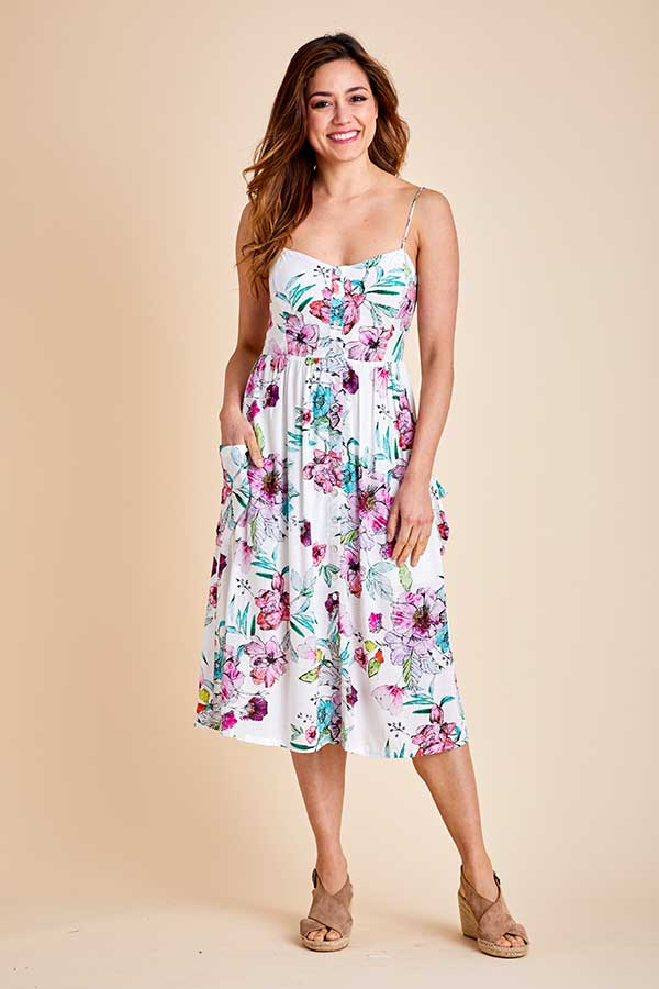 Love Stitch Watercolor Floral Button Front Tea Dress