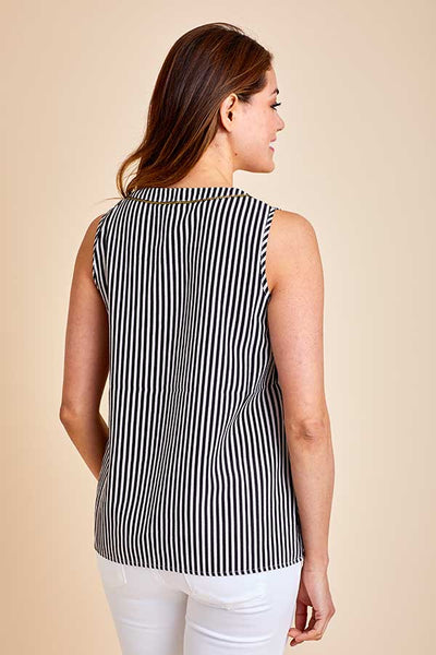 THML Sleeveless Stripe Embroidered Top