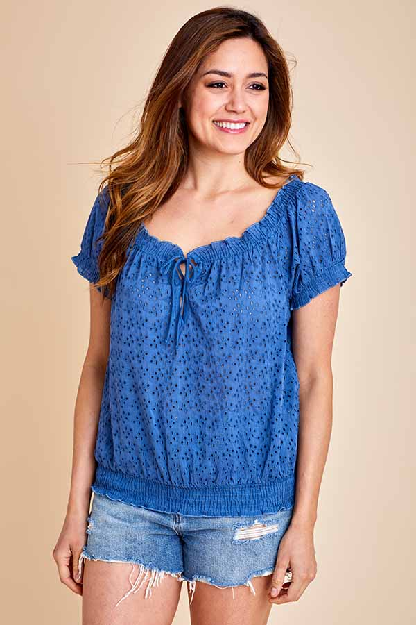Love Stitch Short Sleeve Eyelet Top