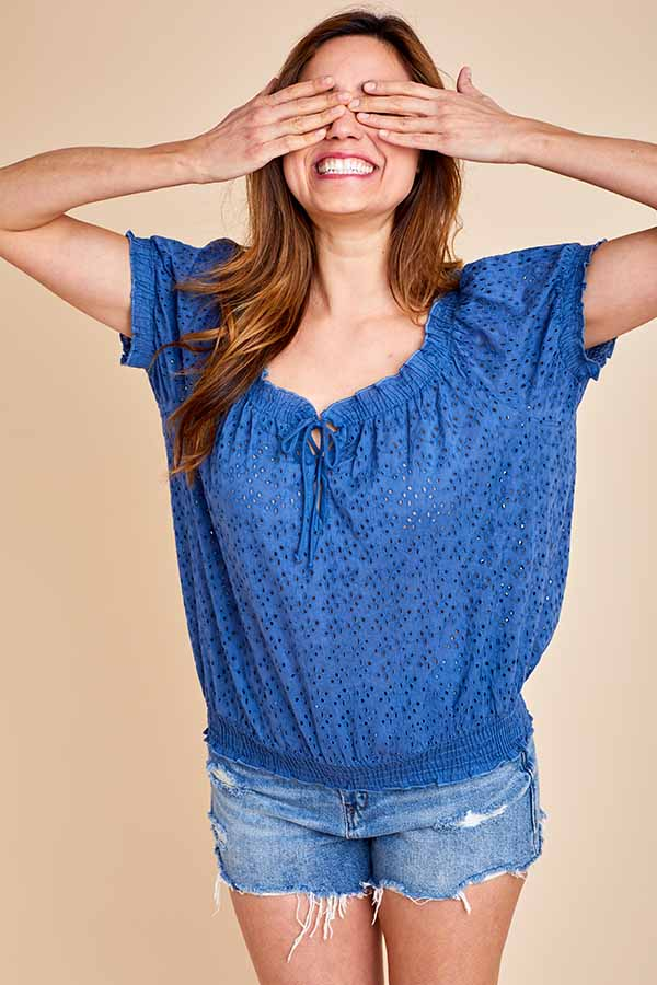 Load image into Gallery viewer, Love Stitch Short Sleeve Eyelet Top