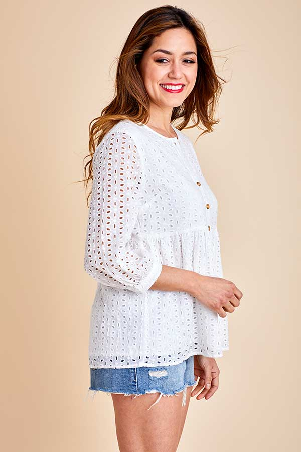 Ces Femme Eyelet Button Front 3/4 Sleeve Top