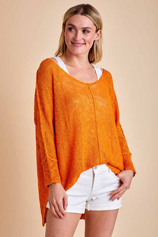 La Miel Lightweight Spring Orange Sweater