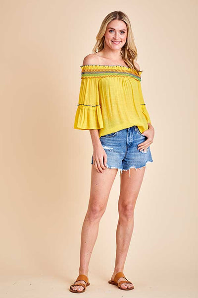 Flying Tomato Off Shoulder Yellow Embroidered Top