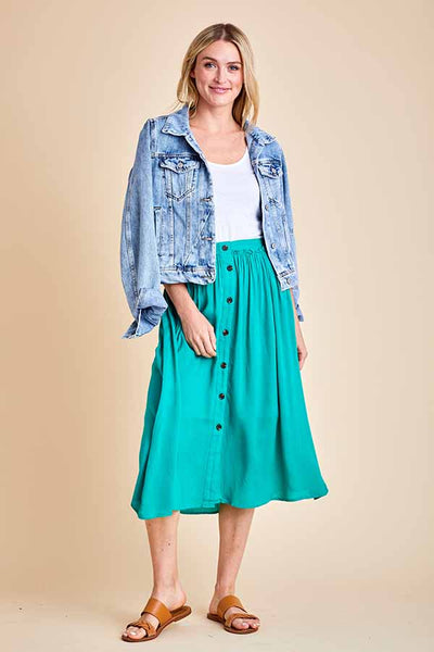 Flying Tomato Button Front A-Line Skirt