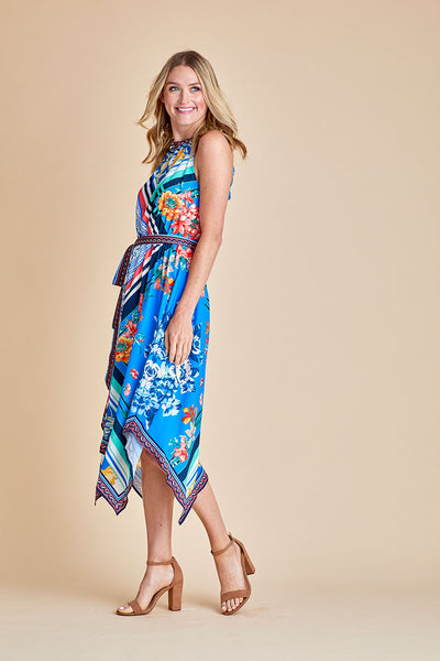 Flying Tomato Multi Scarf Printed Halter Dress