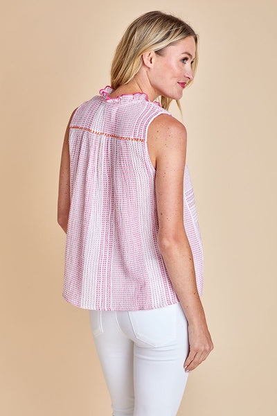 THML Sleeveless Embroidered Cotton Top