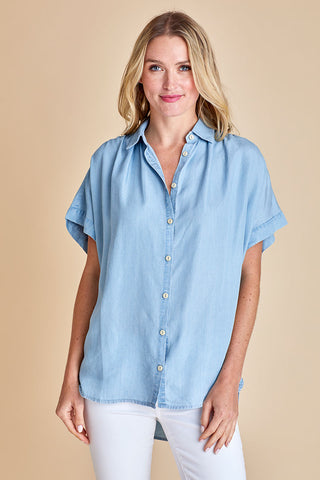 Mod Ref Short Sleeve Oversized Chambray Shirt