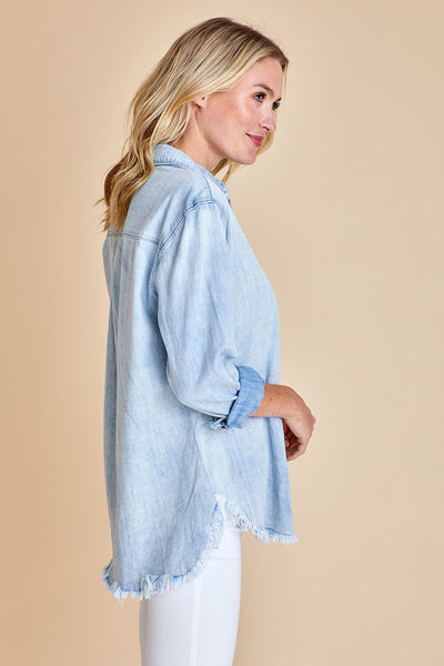 Sneak Peek Frayed Hem Chambray Shirt