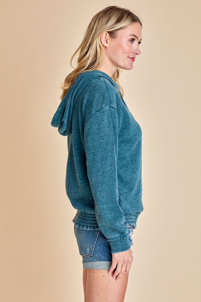 Vintage Havana Smocked Bottom Hoodie (available in 3 colors)