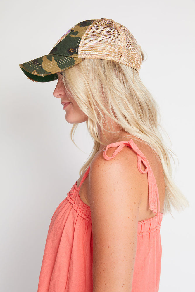 Judith March Take it Easy Camo Distressed Baseball Hat