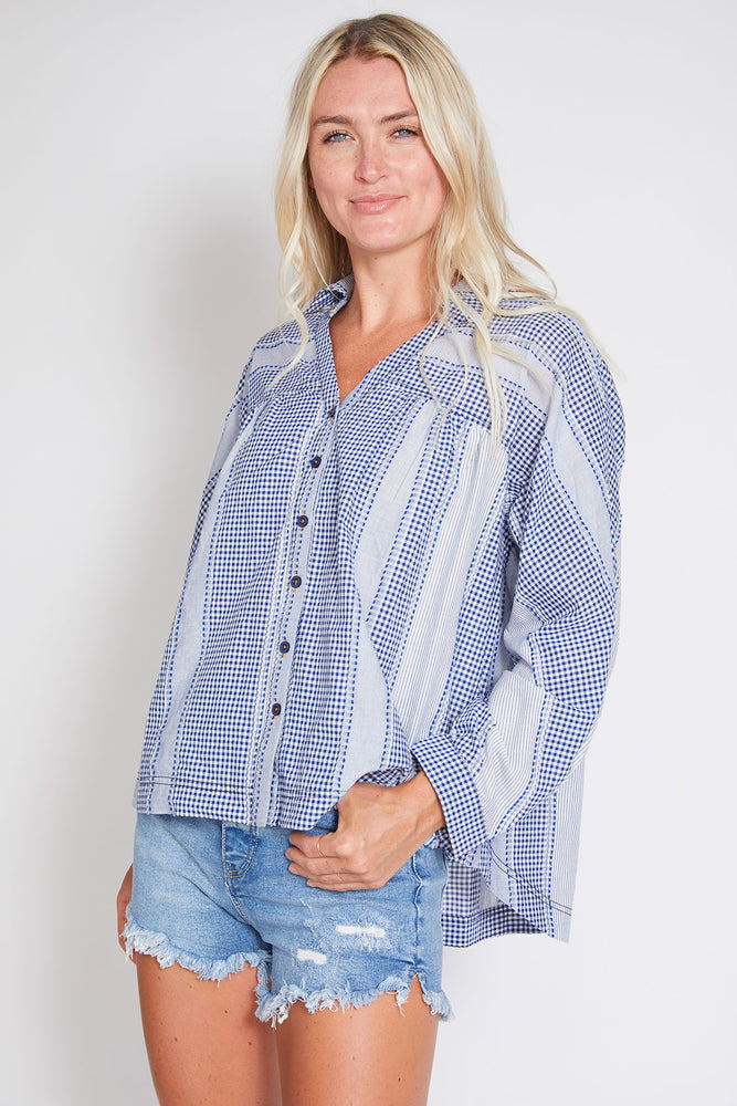 Skies Are Blue Gingham Textured Top