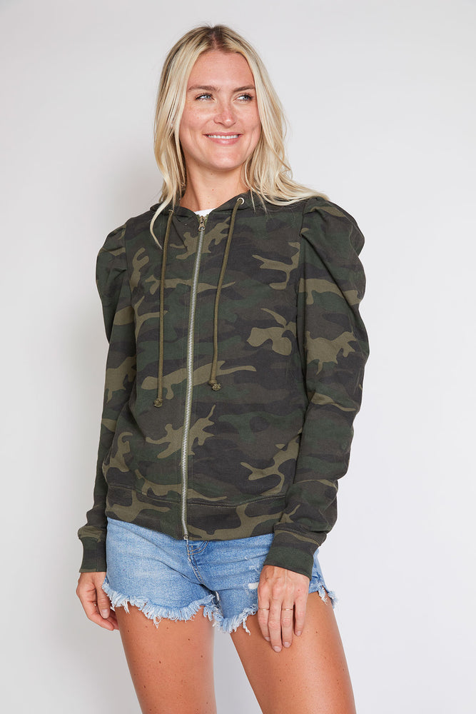 Load image into Gallery viewer, RD Style Camo Puff Sleeve Zip Up Hoodie