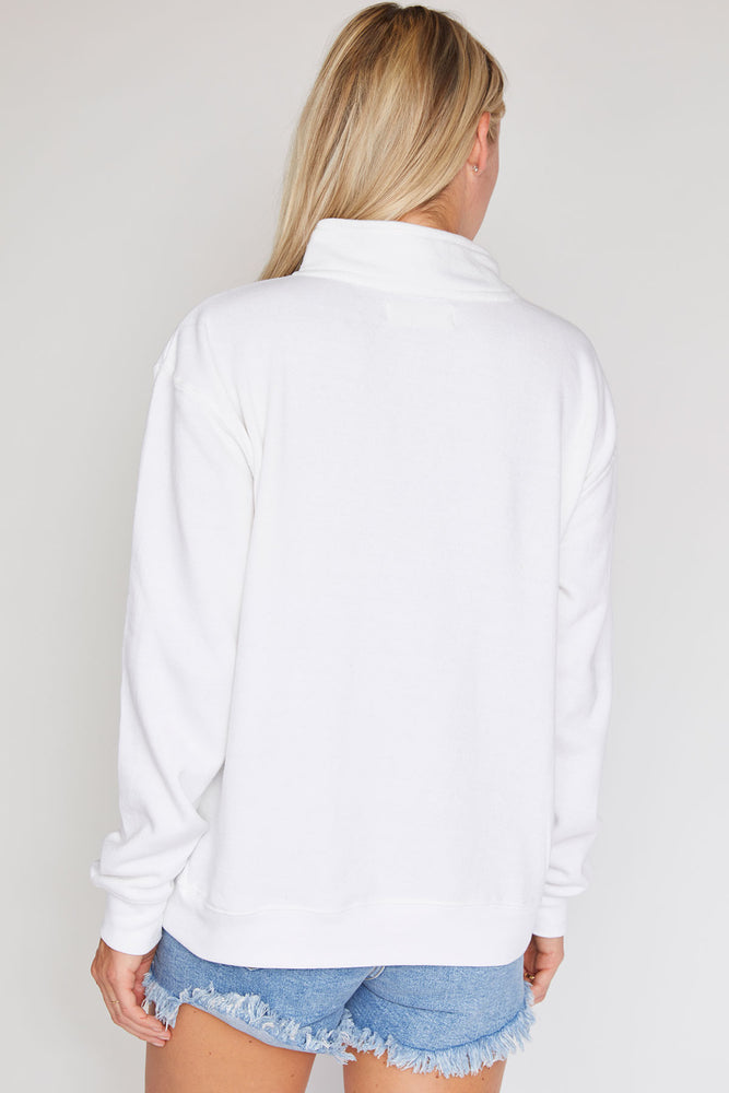 Ocean Drive Half Zip Sweatshirt (available in white and red)