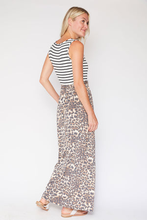 Lovely Melody Striped Animal Print Maxi Dress