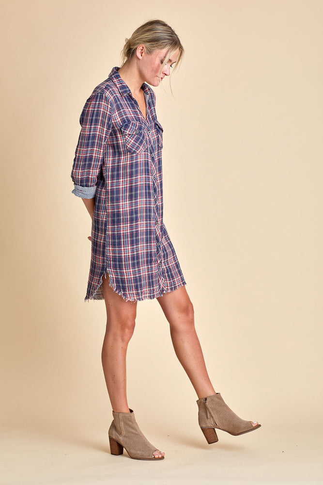 Sneak Peek Button Front Plaid Dress