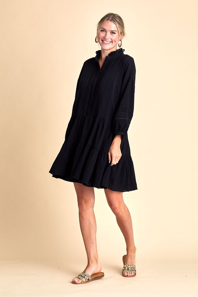 All Row 3/4 Sleeve Cotton Swing Dress
