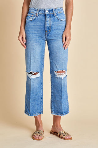 Free People Ranger Wide Leg Distressed Cropped Jeans