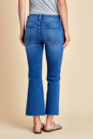 Load image into Gallery viewer, Just Black Scissor Cut Crop Kick Flare Jeans