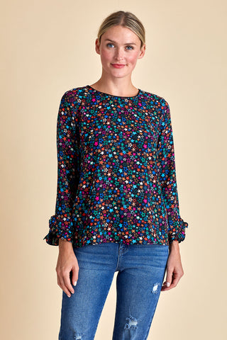 Current Air Star Print Long Sleeve Top