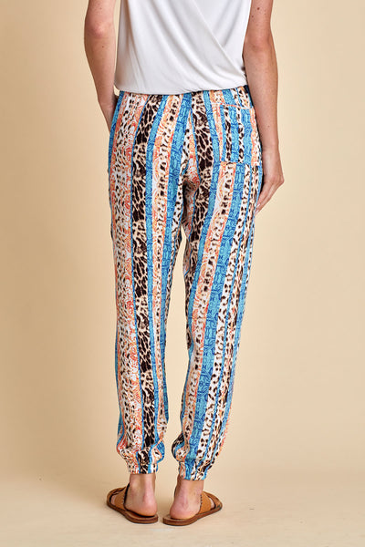 Olivaceous Striped Leopard Joggers