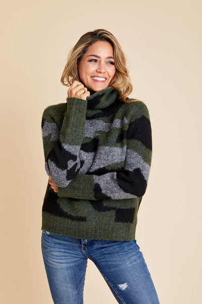 RD Style Cowlneck Camo Sweater