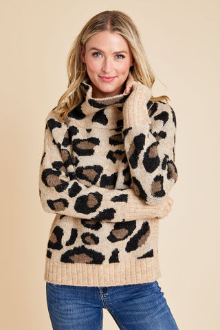 RD Style Leopard Turtleneck Sweater
