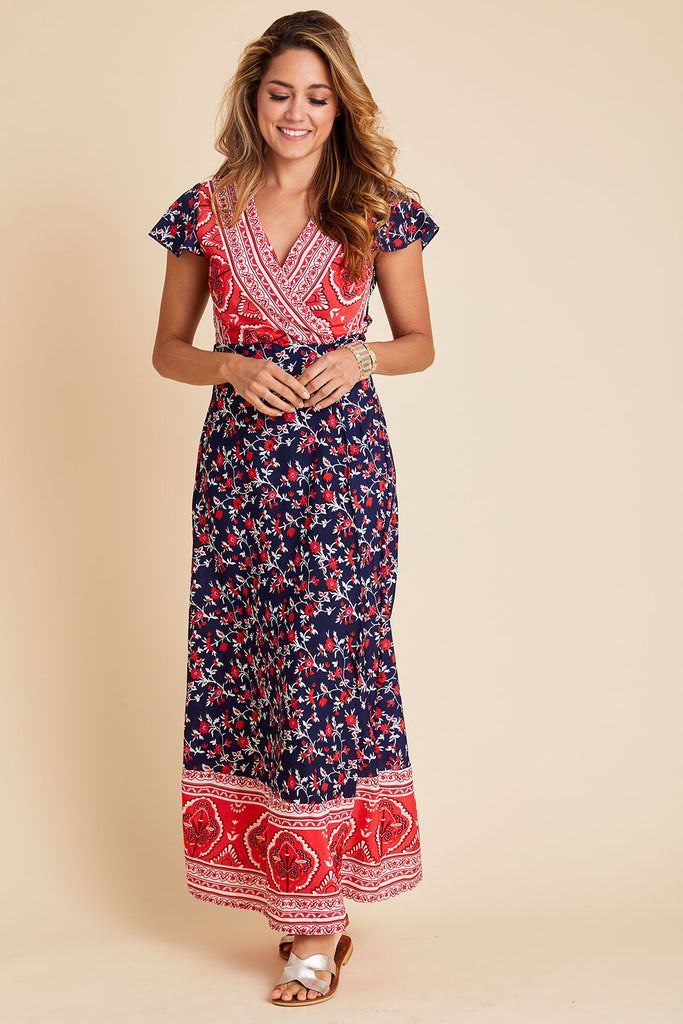 Aly Daly Printed Wrap Front Maxi Dress