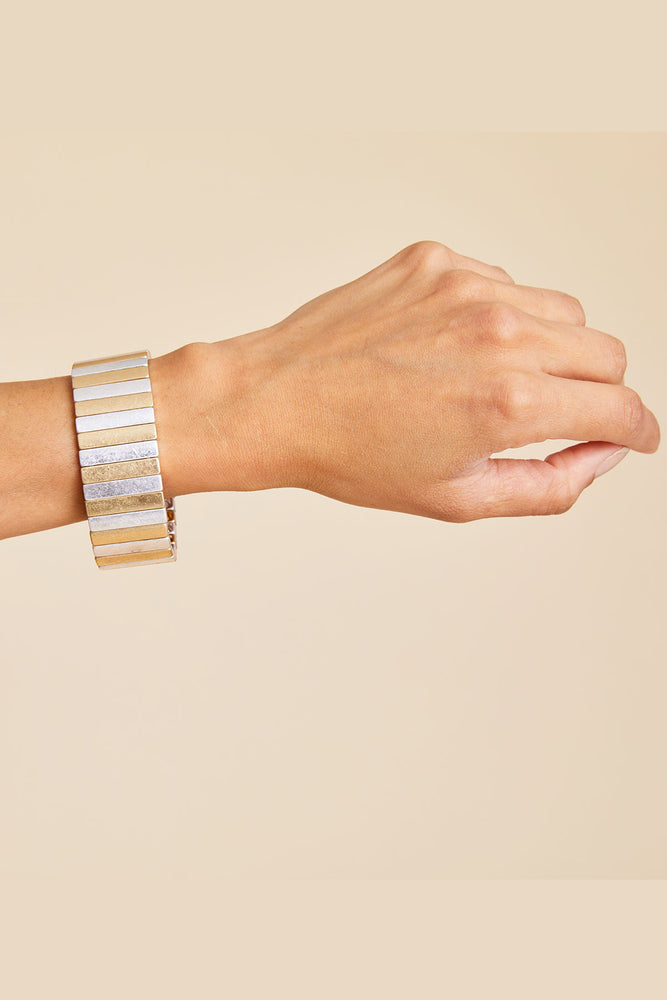 Load image into Gallery viewer, Ladies Night Gold/Silver Pinstripe Wide Stretch Bracelet