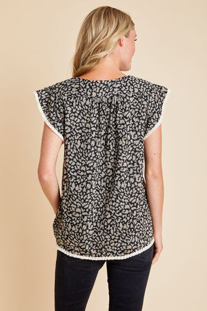 THML Leopard Knit Capsleeve Top