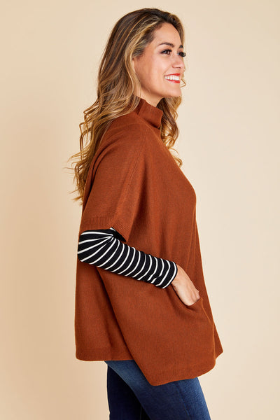 RD Style Front Pocket Knit Poncho Sweater