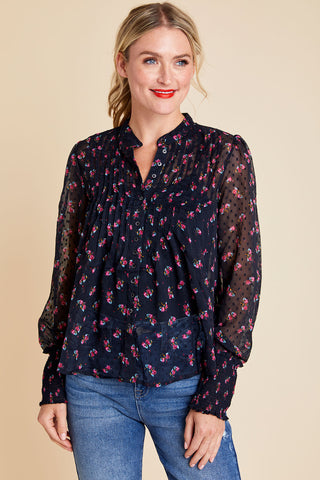 Free People Flowers in December Floral Sheer Top