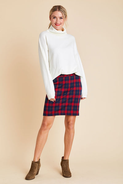 RD Style Plaid Knit Pencil Skirt