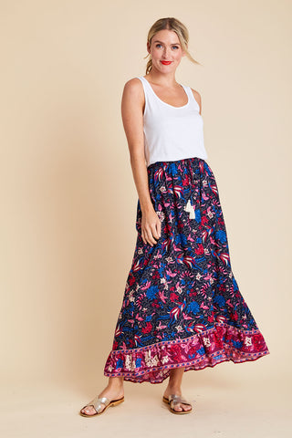 Aly Daly High Low Hem Floral Maxi Skirt