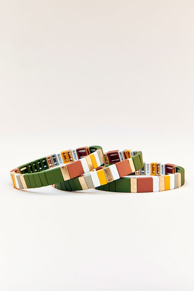 Game Day Painted Matte Block Stretch Bracelets (Set of 3)