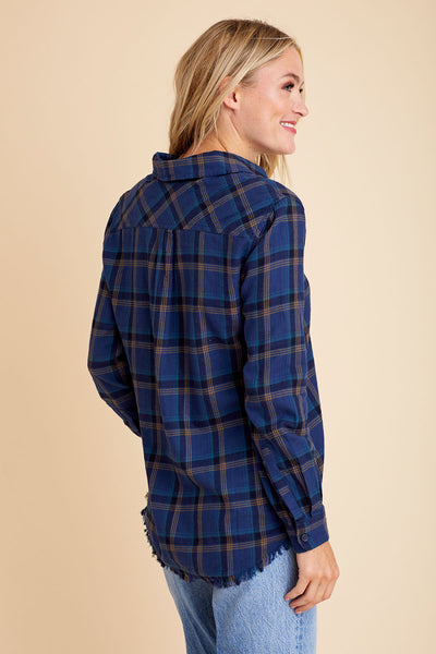 Beach Lunch Lounge Plaid Fringe Hem Shirt