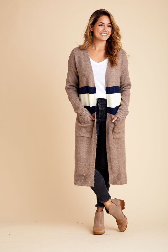 Mystree Long Stripe Cardigan