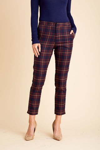 THML Plaid Pants with Leopard Print Waistband