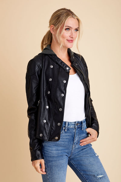 Free People New Dawn Faux Leather jacket (with removable hood)