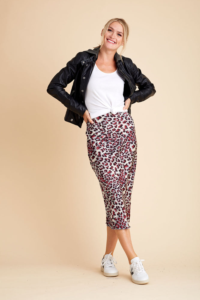 Load image into Gallery viewer, Hashtag Leopard Print Bias Skirt