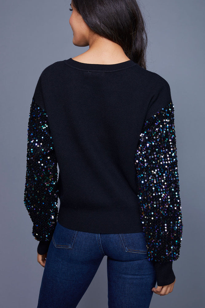 Lush Sequin Sleeve Sweater