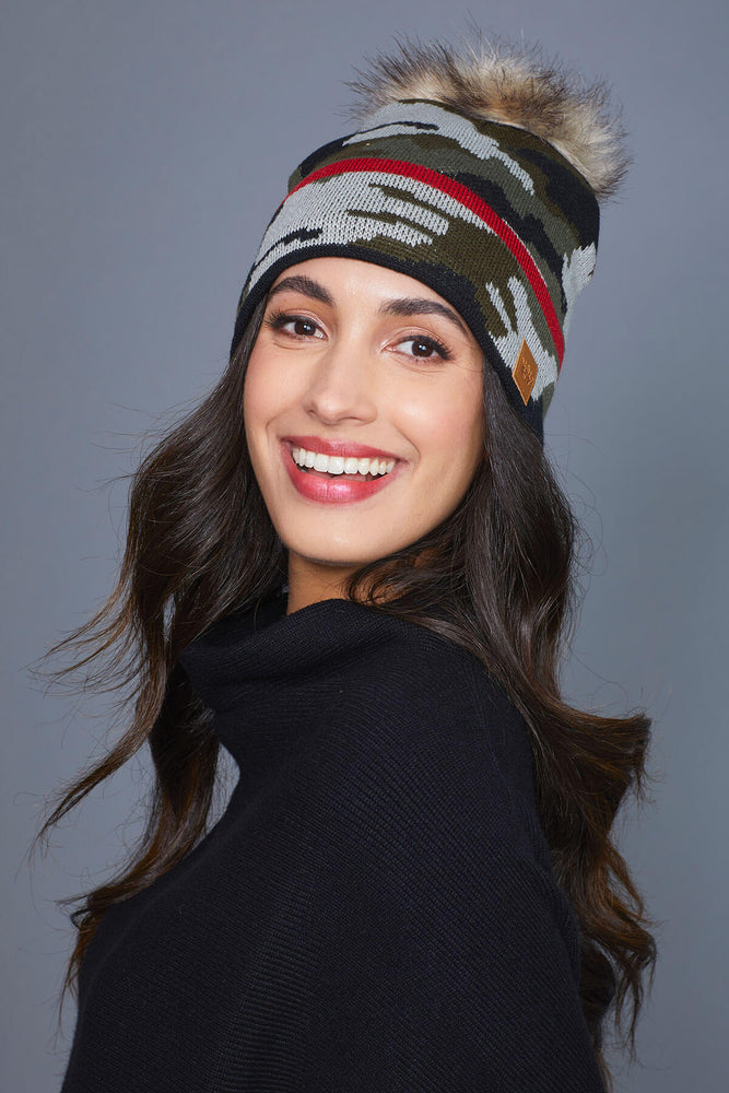 Load image into Gallery viewer, Panache Camo Red Trim Pom Pom Hat