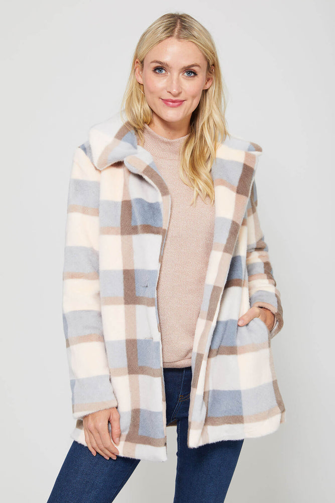Z Supply Plaid Carmen Faux Fur Coat