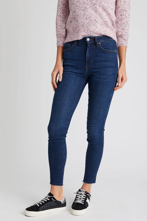 Free People Highwaisted Dark Denim Frayed Hem Skinny Jean