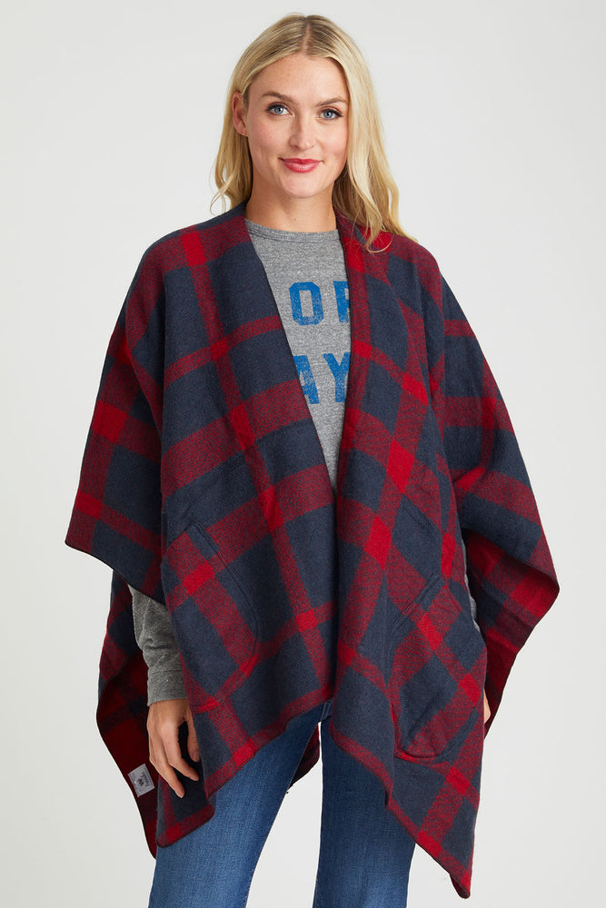 Panache Red/Navy Plaid Cape
