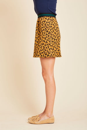 Load image into Gallery viewer, THML Leopard Contrasting Waistband Mini Skirt