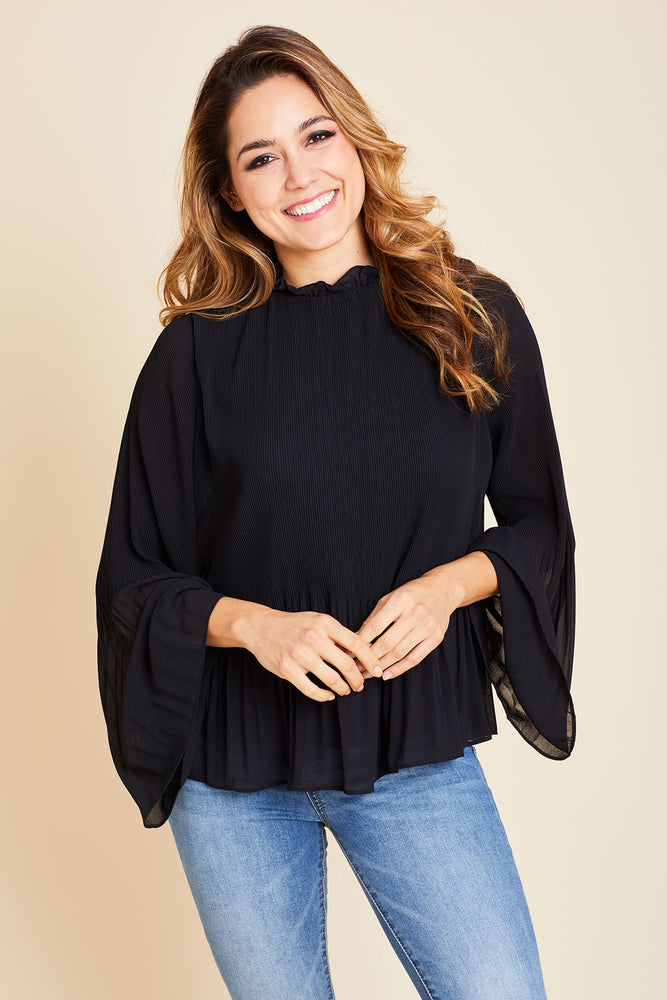 Naked Zebra Pleated Long Sleeve Top